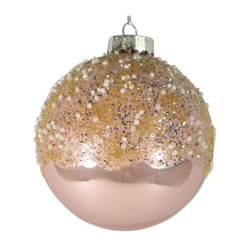 Pink Beaded Ball Ornament - My Christmas