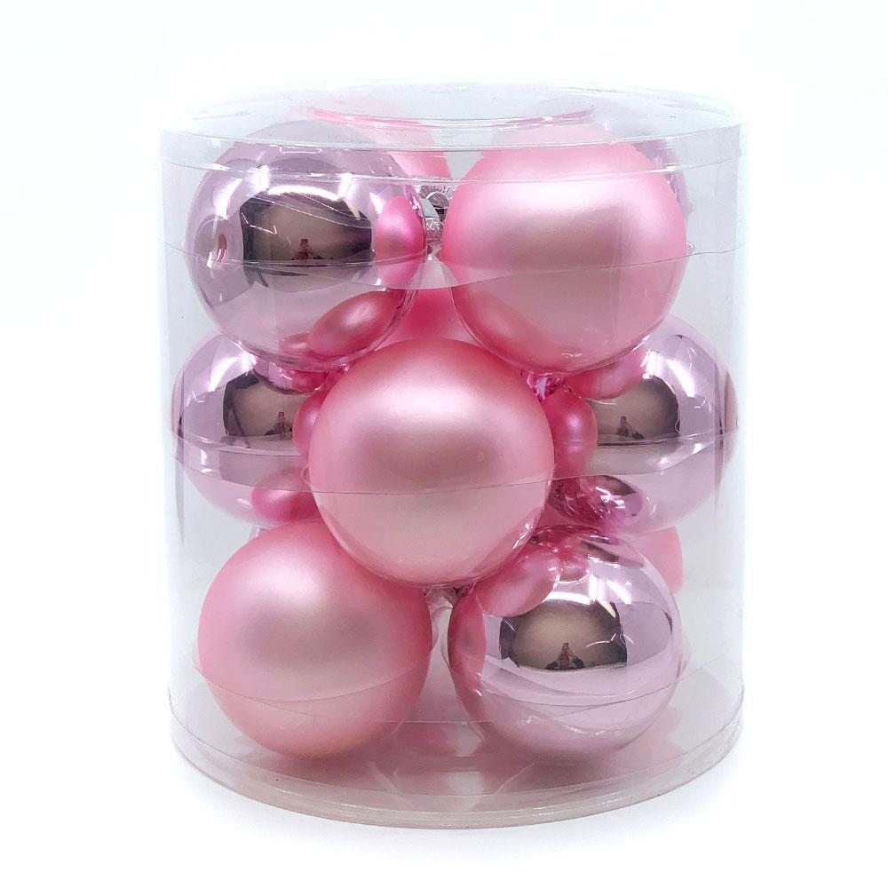 Pink Glass Bauble Pack, Various Sizes - My Christmas