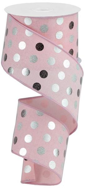 Pink / Silver Dot Ribbon - My Christmas