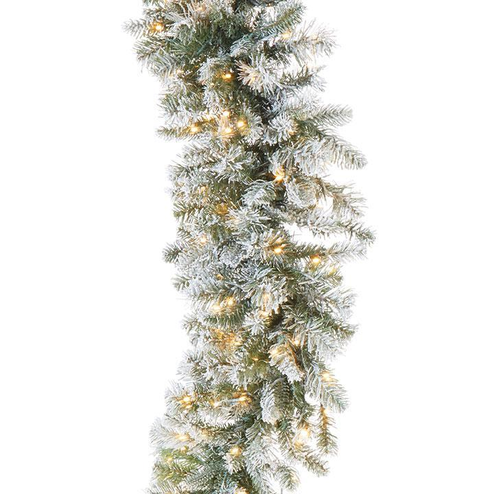 Pre Lit Frosted Pine Garland - My Christmas
