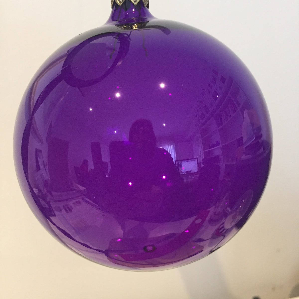 Purple Shiny Clear Bauble, 9cm. - My Christmas