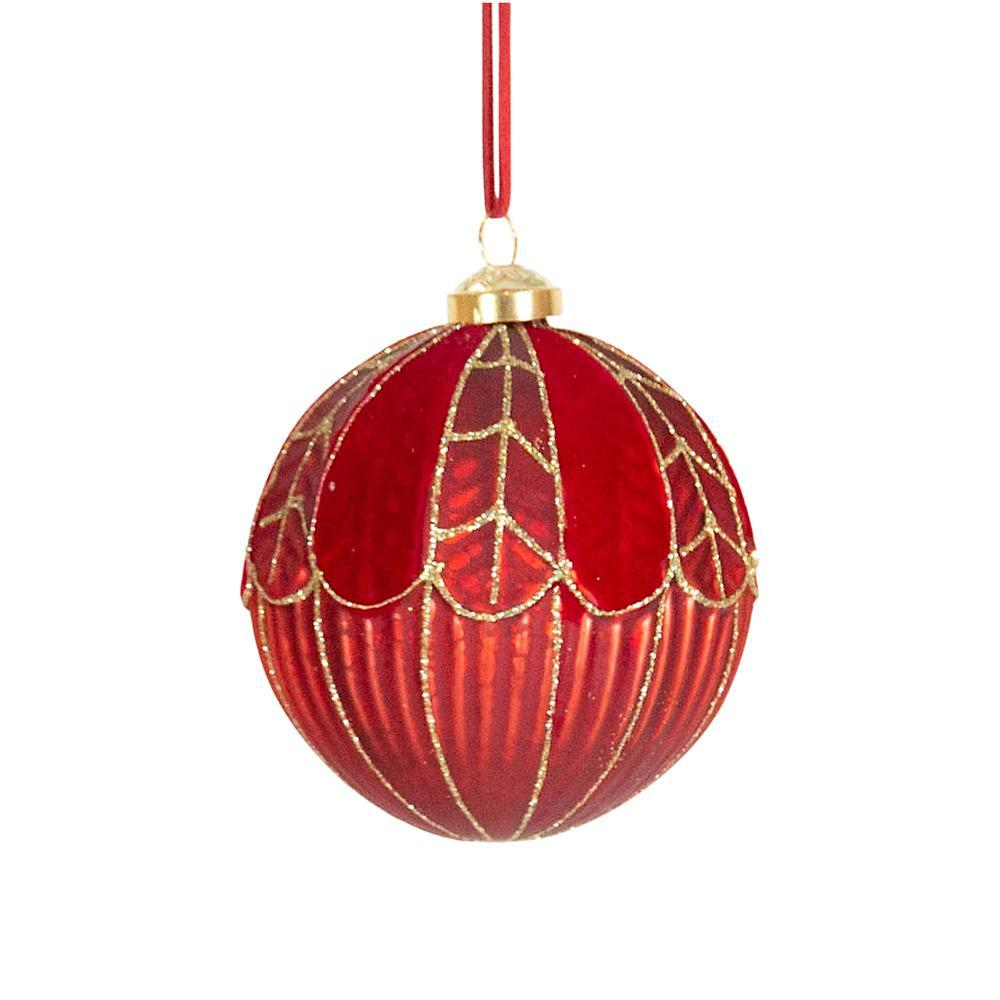 Red And Gold Glitter Bauble - My Christmas