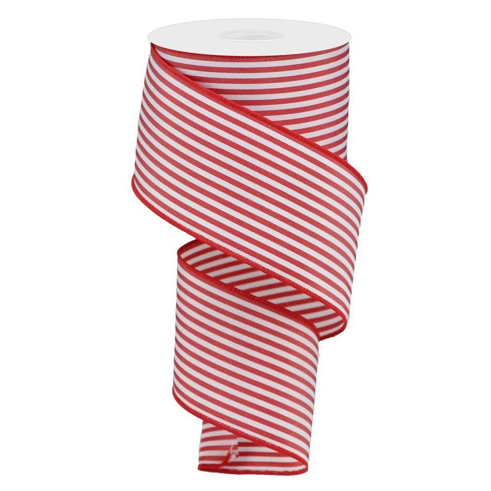 Red And White Vertical Stripe Ribbon - My Christmas