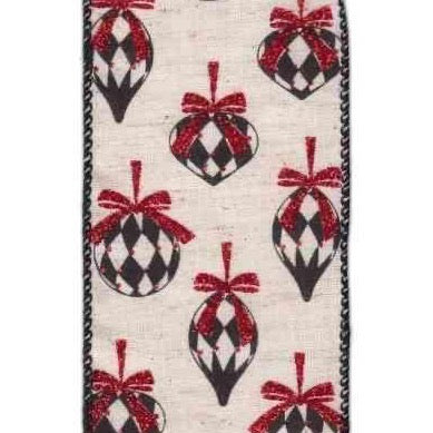 Red / Black Harlequin Linen Ribbon - My Christmas