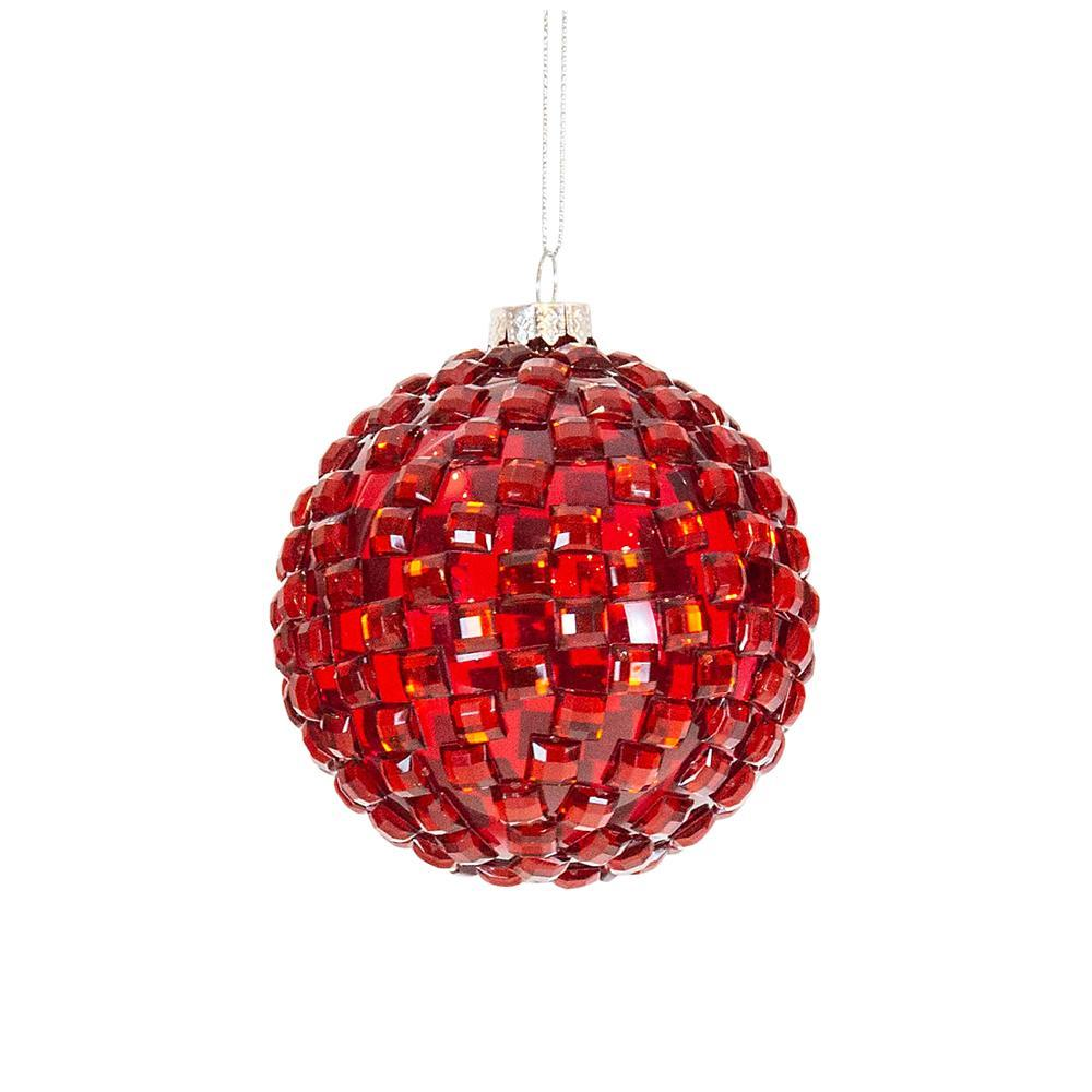 Red Checked Bauble - My Christmas