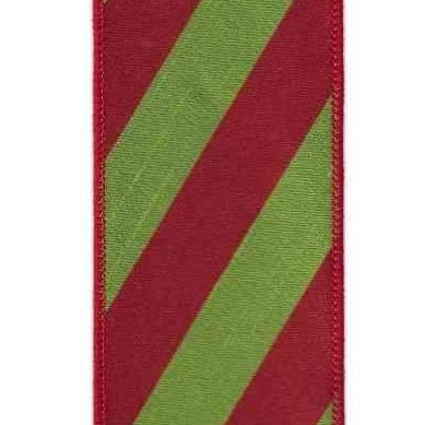 Red / Green Dupion Diagonal Stripe Ribbon - My Christmas