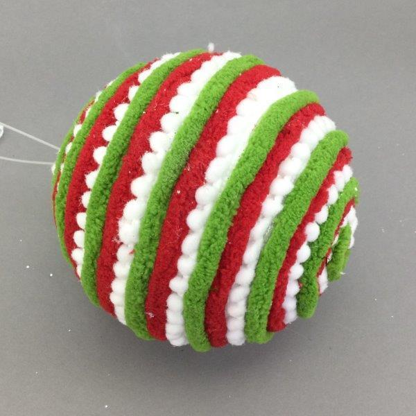 Red Green White Swirl Bauble - My Christmas