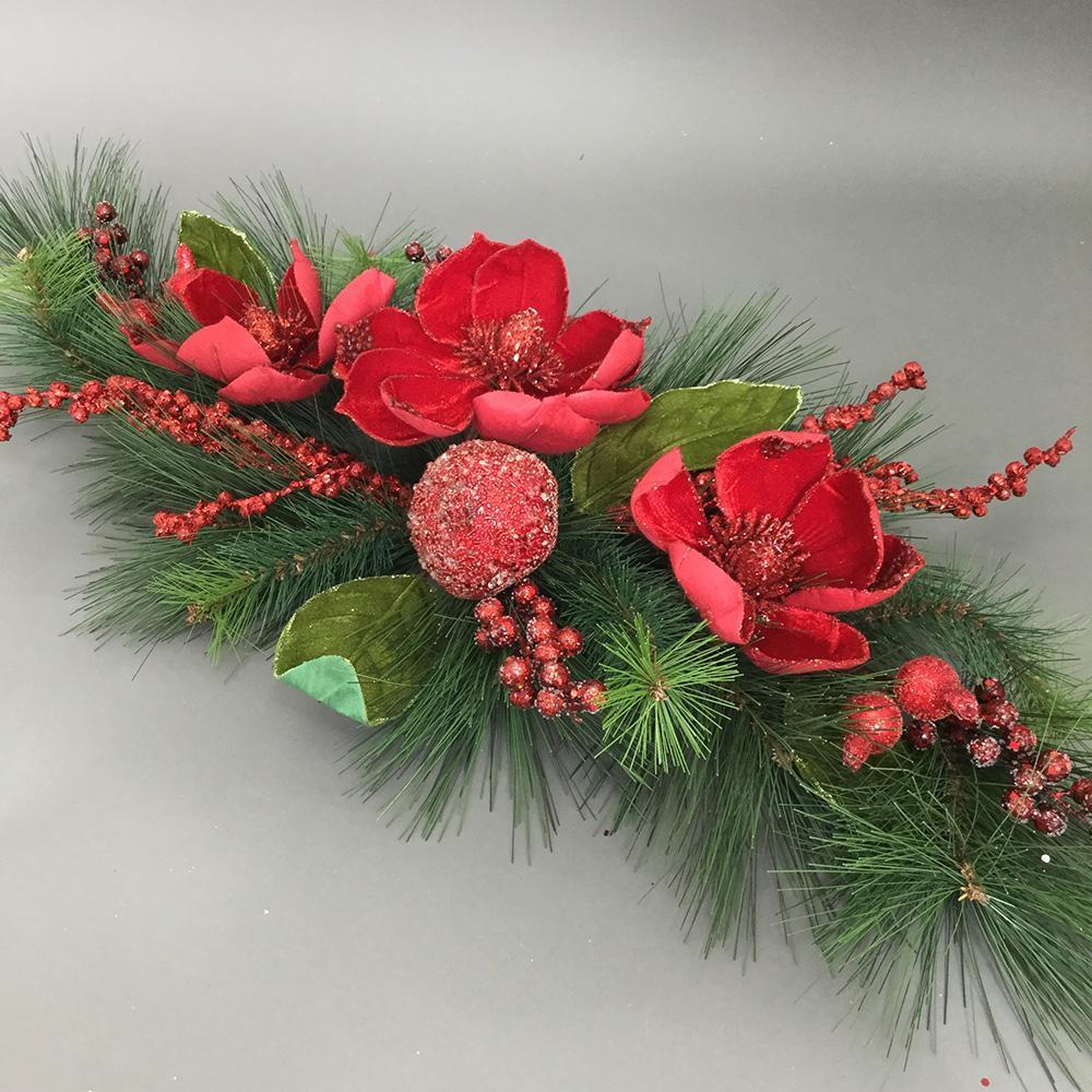 Red Magnolia Table Swag, 90cm - My Christmas