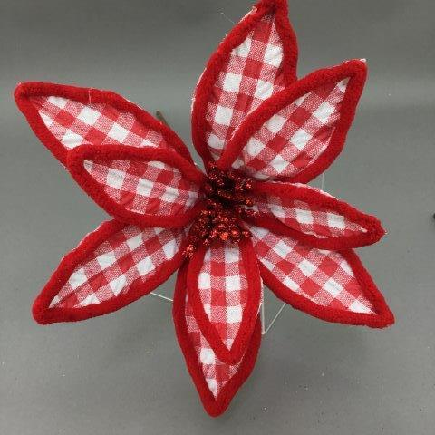Red Plaid Poinsettia - My Christmas
