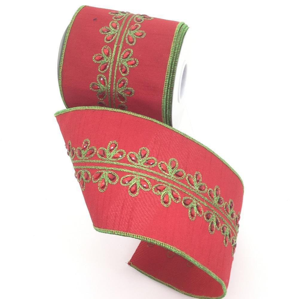 Red Ribbon With Green Detailing - My Christmas