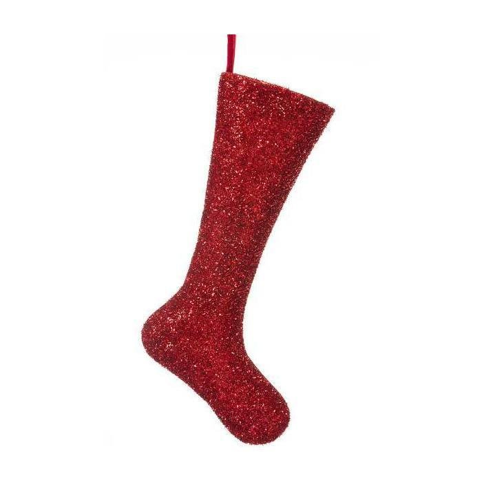 Red Tinsel Stocking - My Christmas