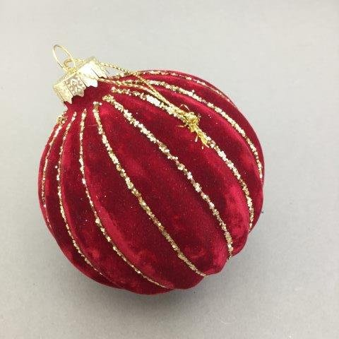 Red Velour Striped Ball - My Christmas