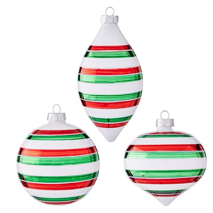 Red, White and Green Striped Ornament - My Christmas