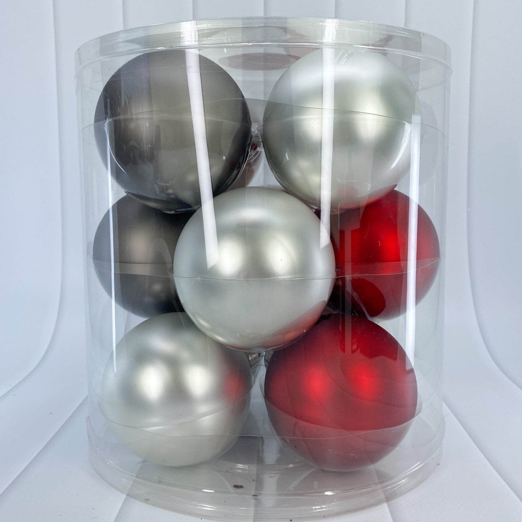 Red, White and Grey Glass Bauble Pack, Various Sizes - My Christmas