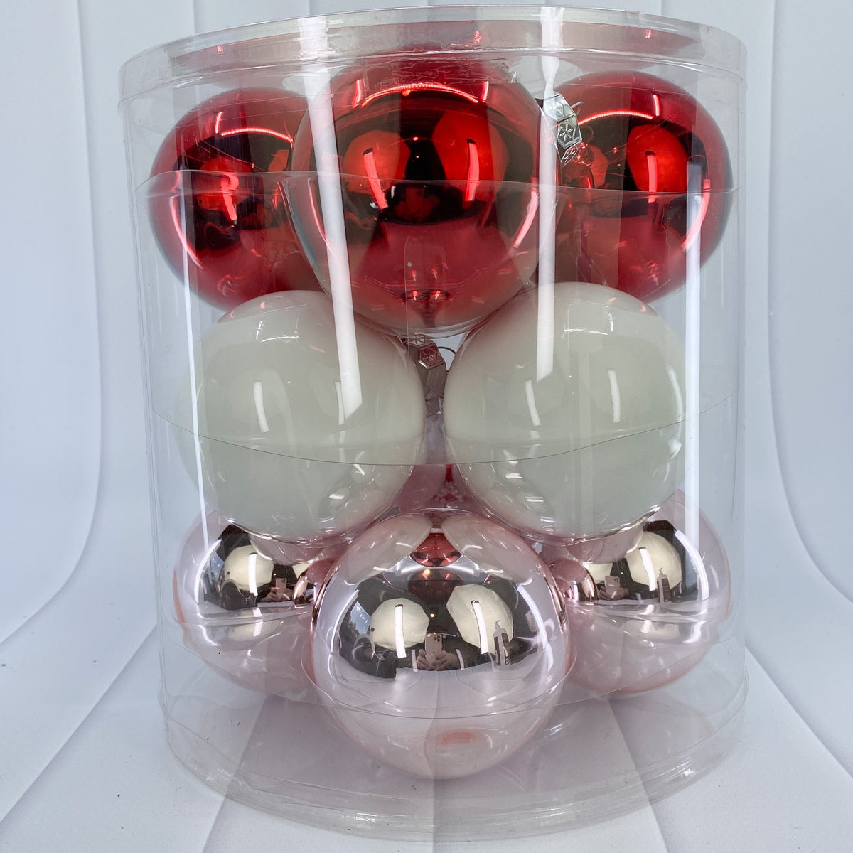 Red, White and Pink Glass Bauble Pack, Various Sizes - My Christmas