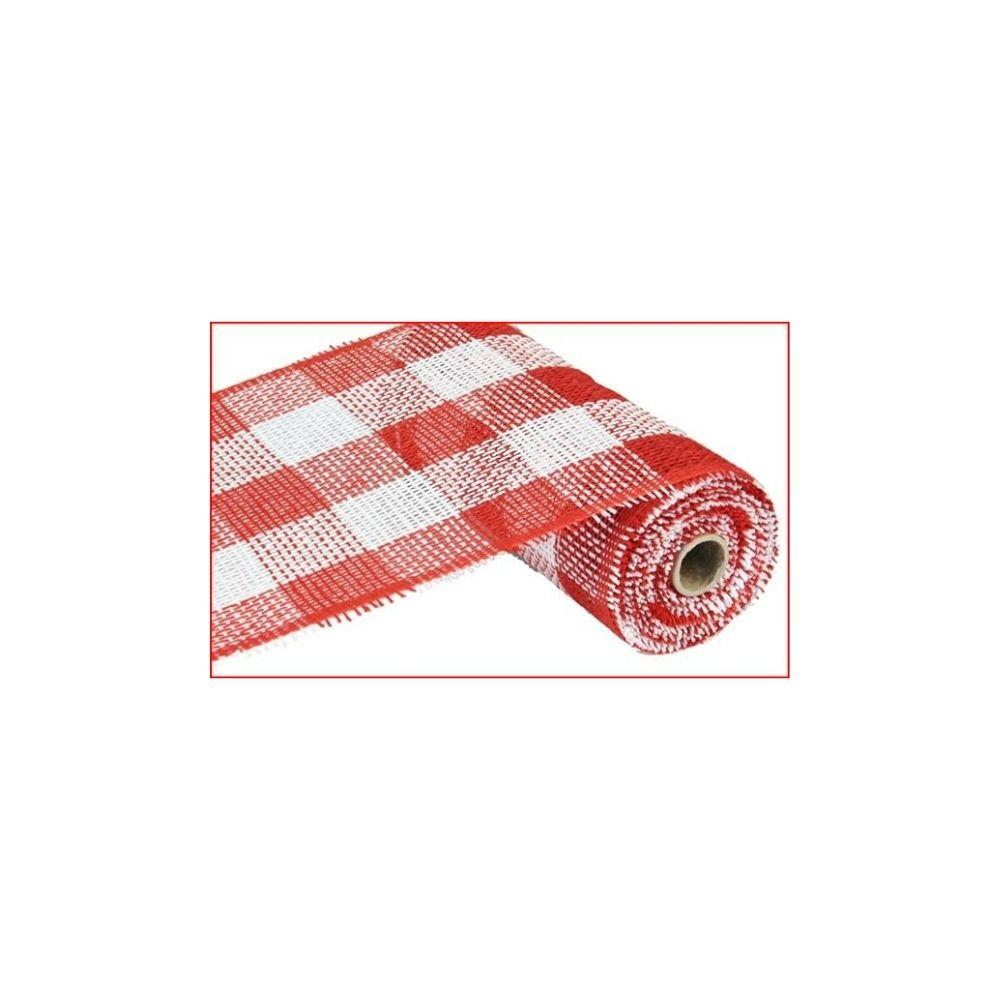 Red & White Checked Paper Mesh, 25cm - My Christmas