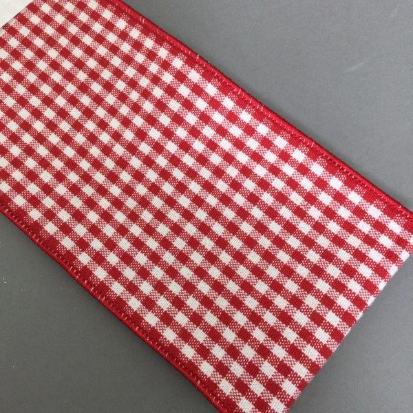 Red White Chequer Ribbon - My Christmas