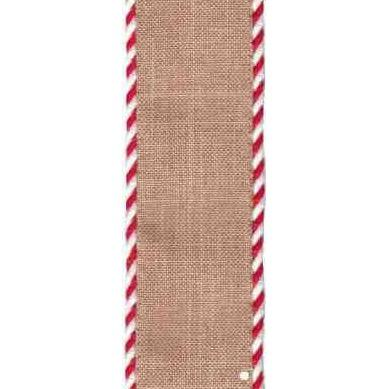 Red / White Edged Natural Linen Ribbon - My Christmas