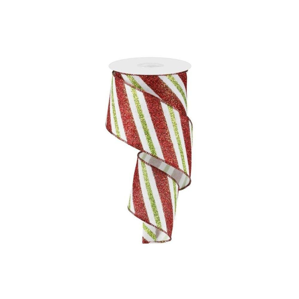 Red / White / Lime Striped Ribbon - My Christmas
