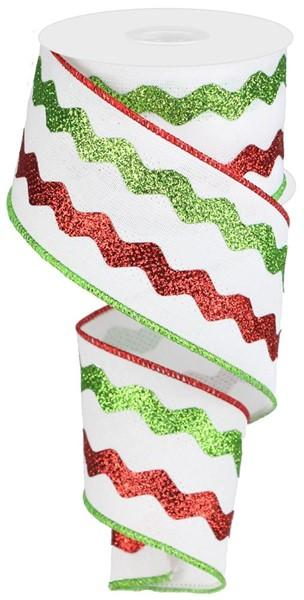 Red, White & Lime Wired Ribbon - My Christmas