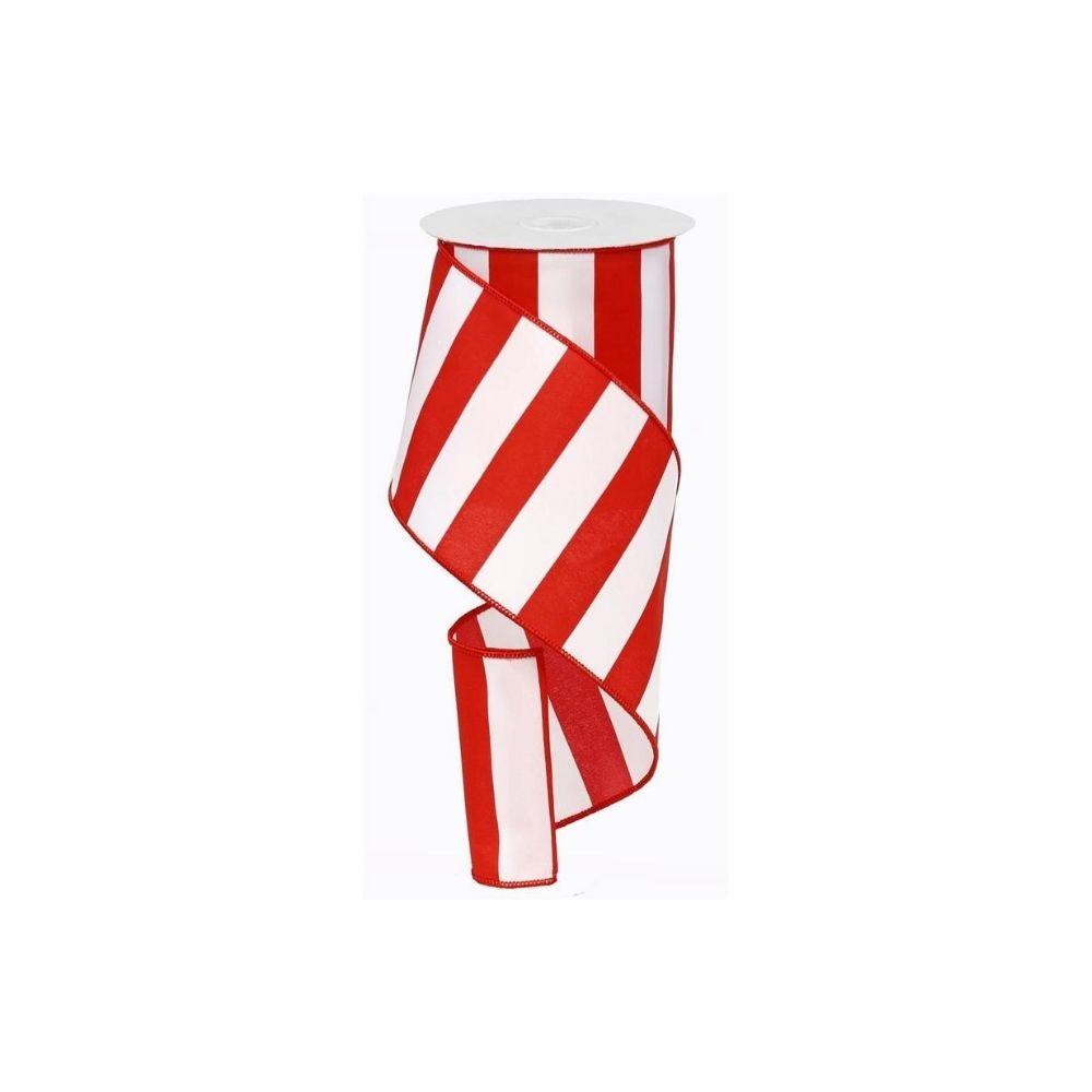 Red / White Wide Striped Ribbon - My Christmas