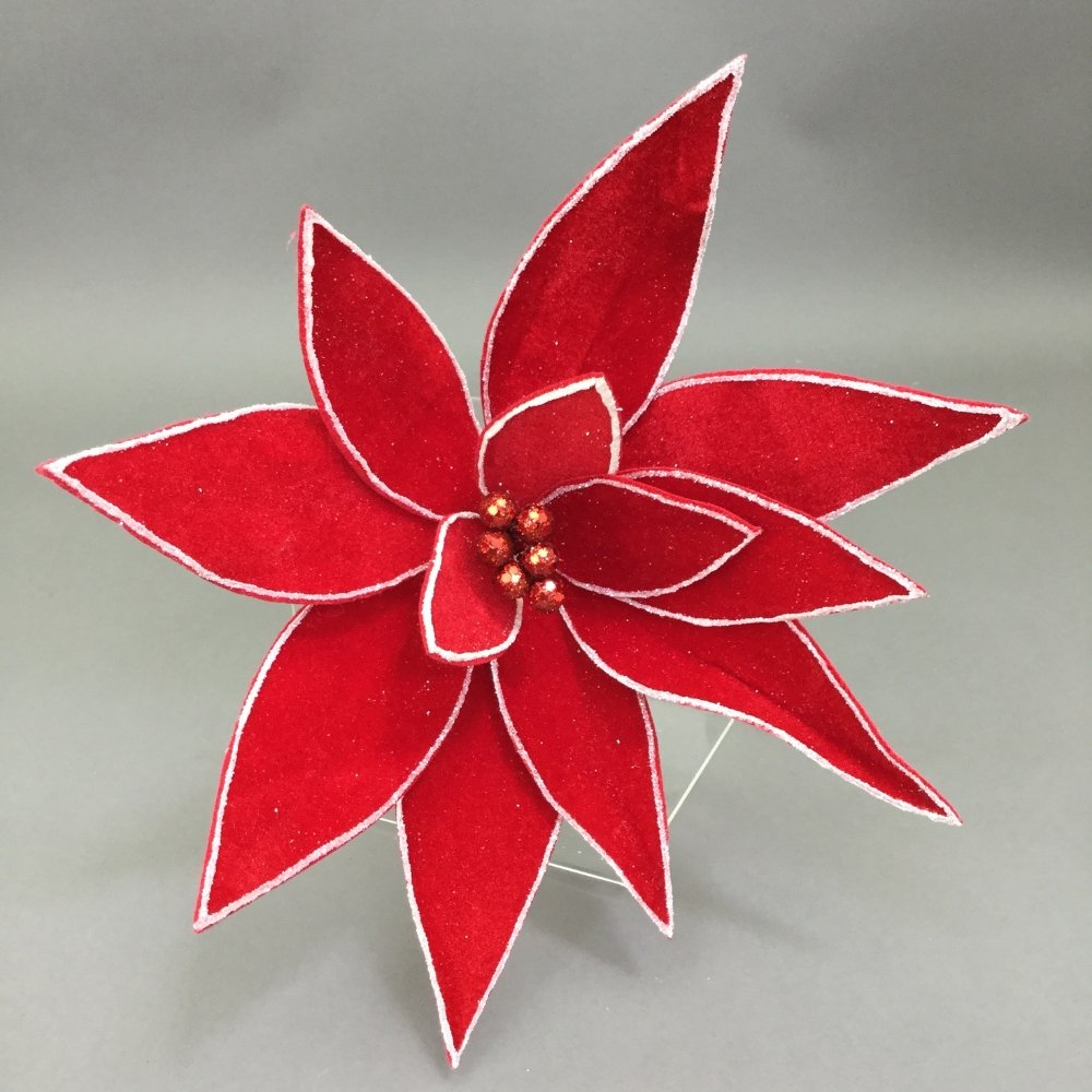 Red With White Edge Poinsettia Pick - My Christmas