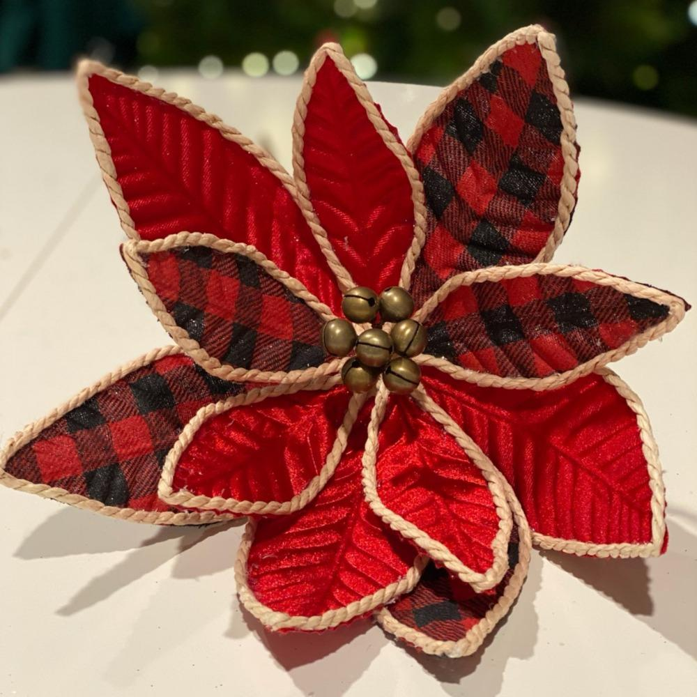 Red/Buffalo Plaid Poinsettia - My Christmas