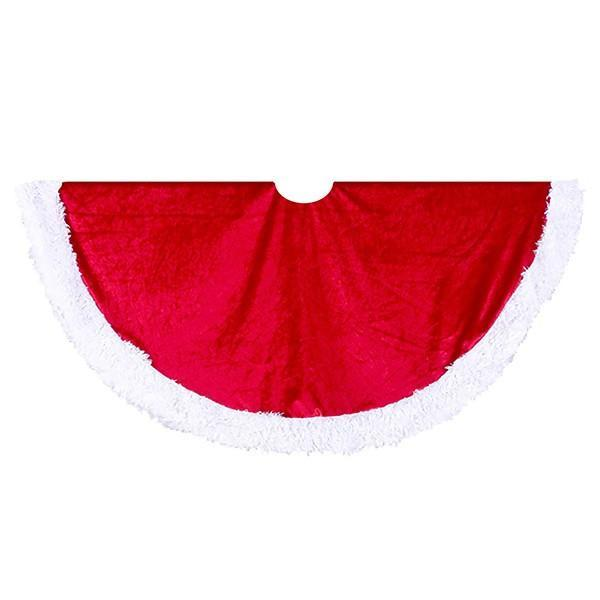 Red/White Velvet Tree skirt - My Christmas