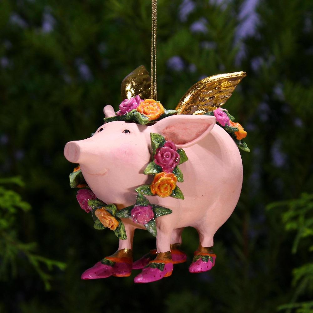 Rose Flying Pig Ornament - My Christmas