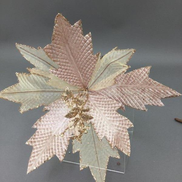 Rose Gold Poinsettia Pick - My Christmas