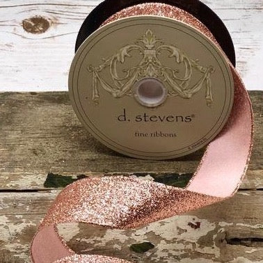 Rose Gold Satin Glitter Ribbon - My Christmas