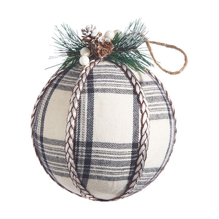Rustic Black and White Checked Ball - My Christmas