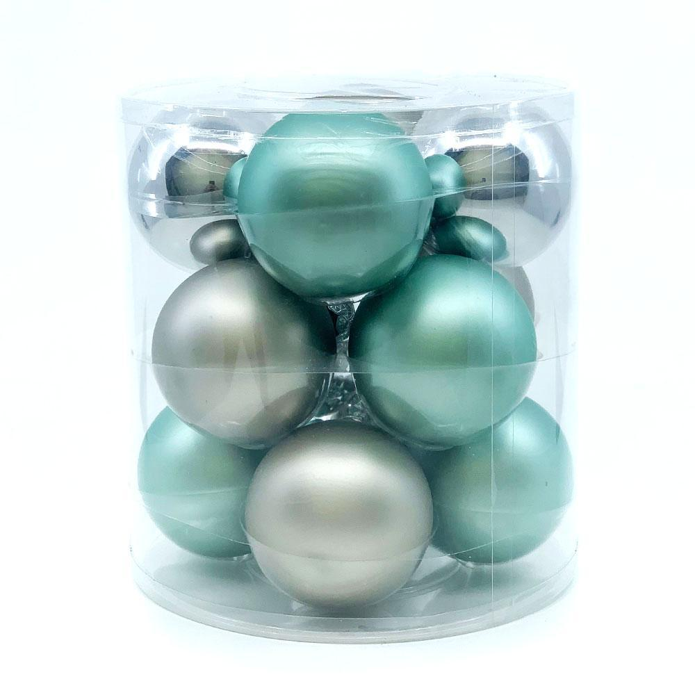 Sage/Platinum Glass Bauble Pack, Various Sizes - My Christmas