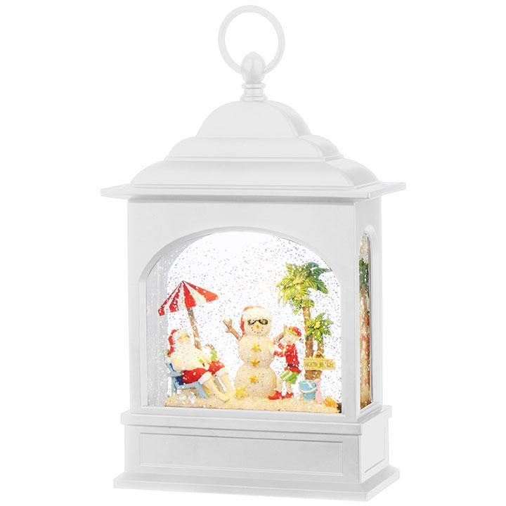 Santa On Vacation Lit Water Lantern, - My Christmas