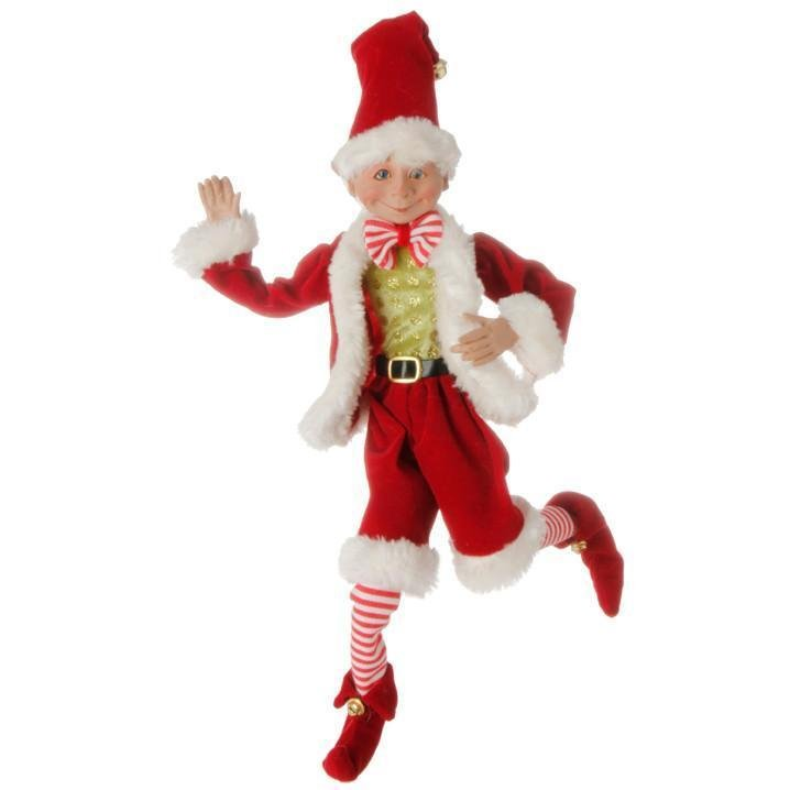 Santa Suit Posable Elf, 40cm - My Christmas