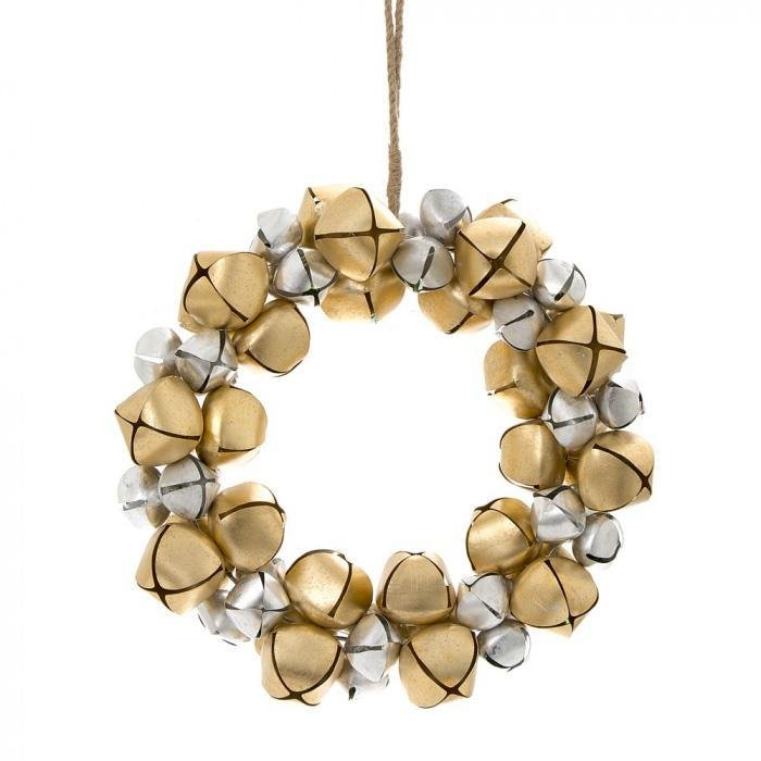 Silver And Gold Bell Wreath - My Christmas