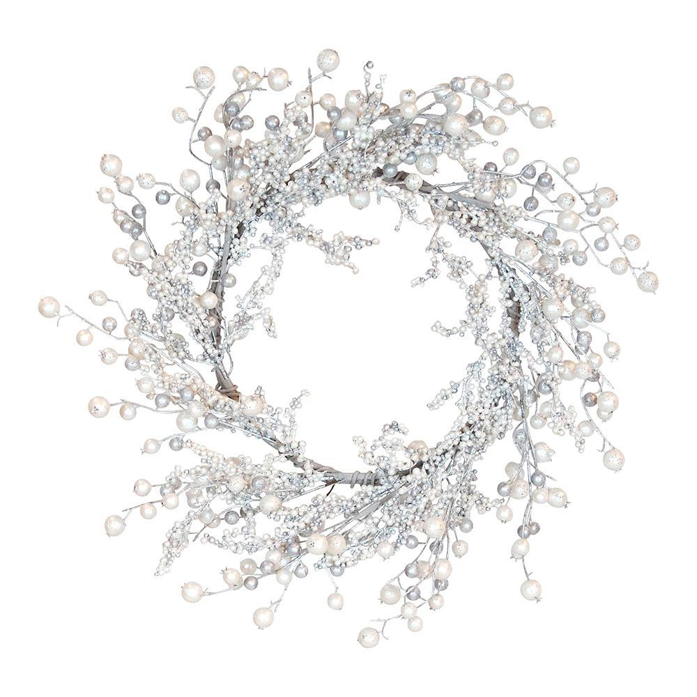 Silver And Pearl Beaded Wreath - My Christmas