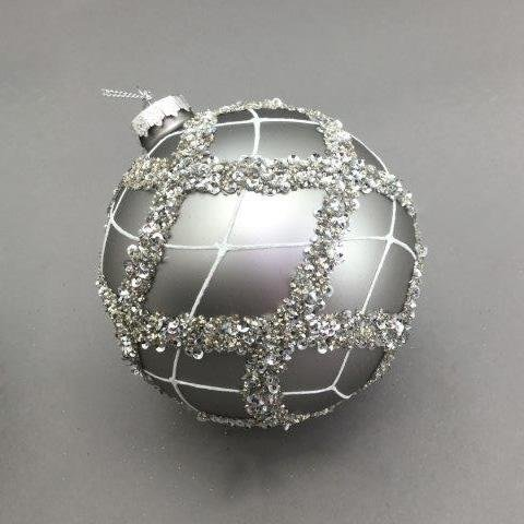 Silver Crosshatched Ball - My Christmas