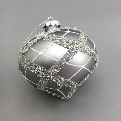 Silver Crosshatched Onion - My Christmas
