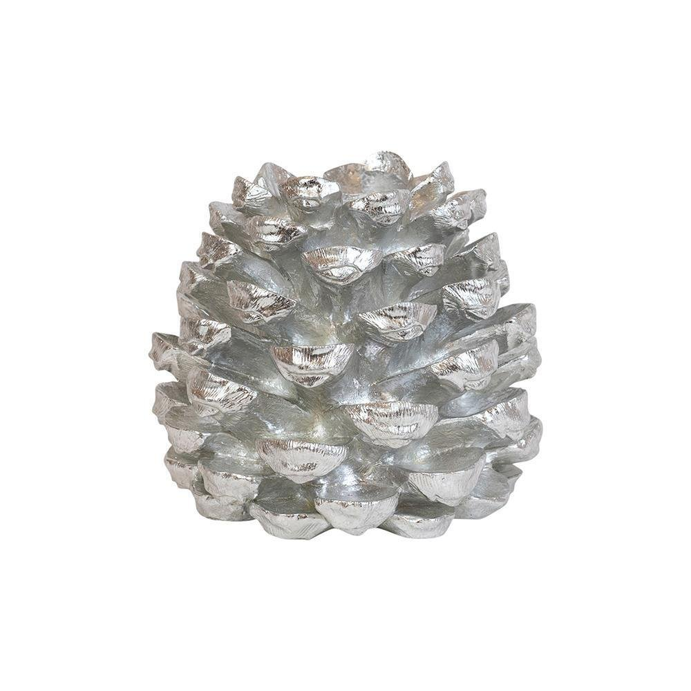 Silver Pinecone Candle Holder - My Christmas