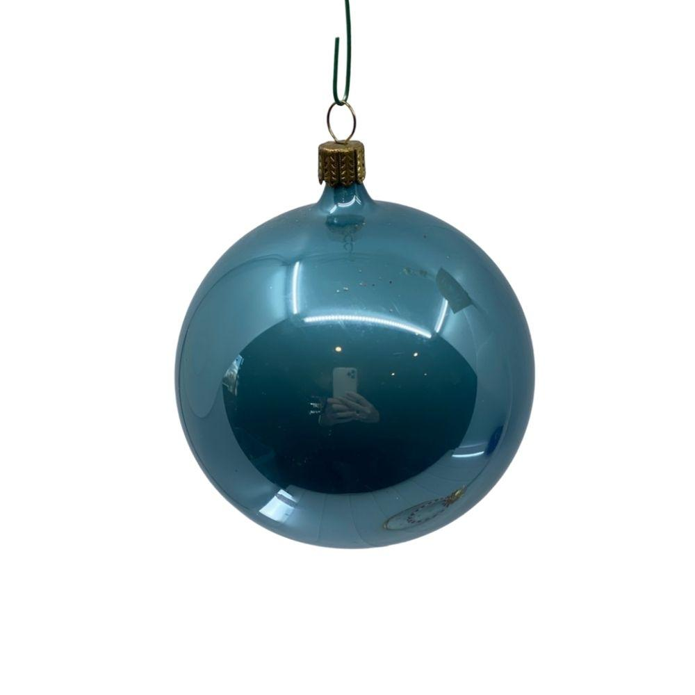 Silvery Blue Pearl bauble, 9cm. - My Christmas