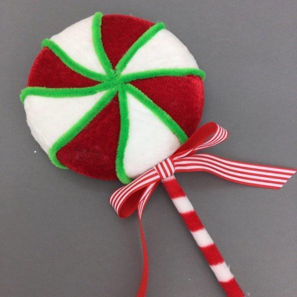 Sm Red White Swirl Lollypop - My Christmas