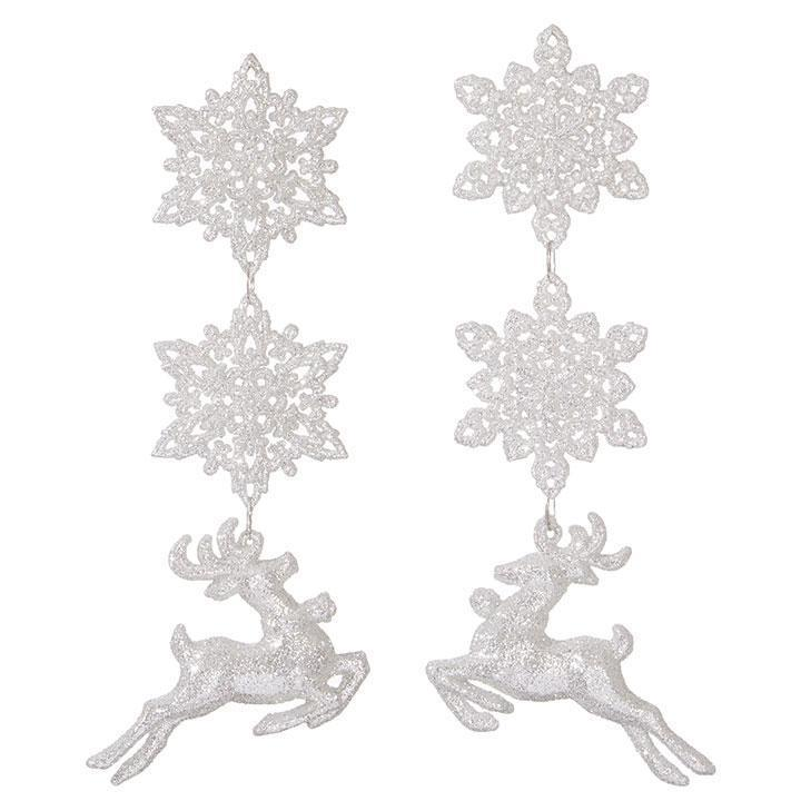 Snowflake and Deer Dangle Ornament - My Christmas