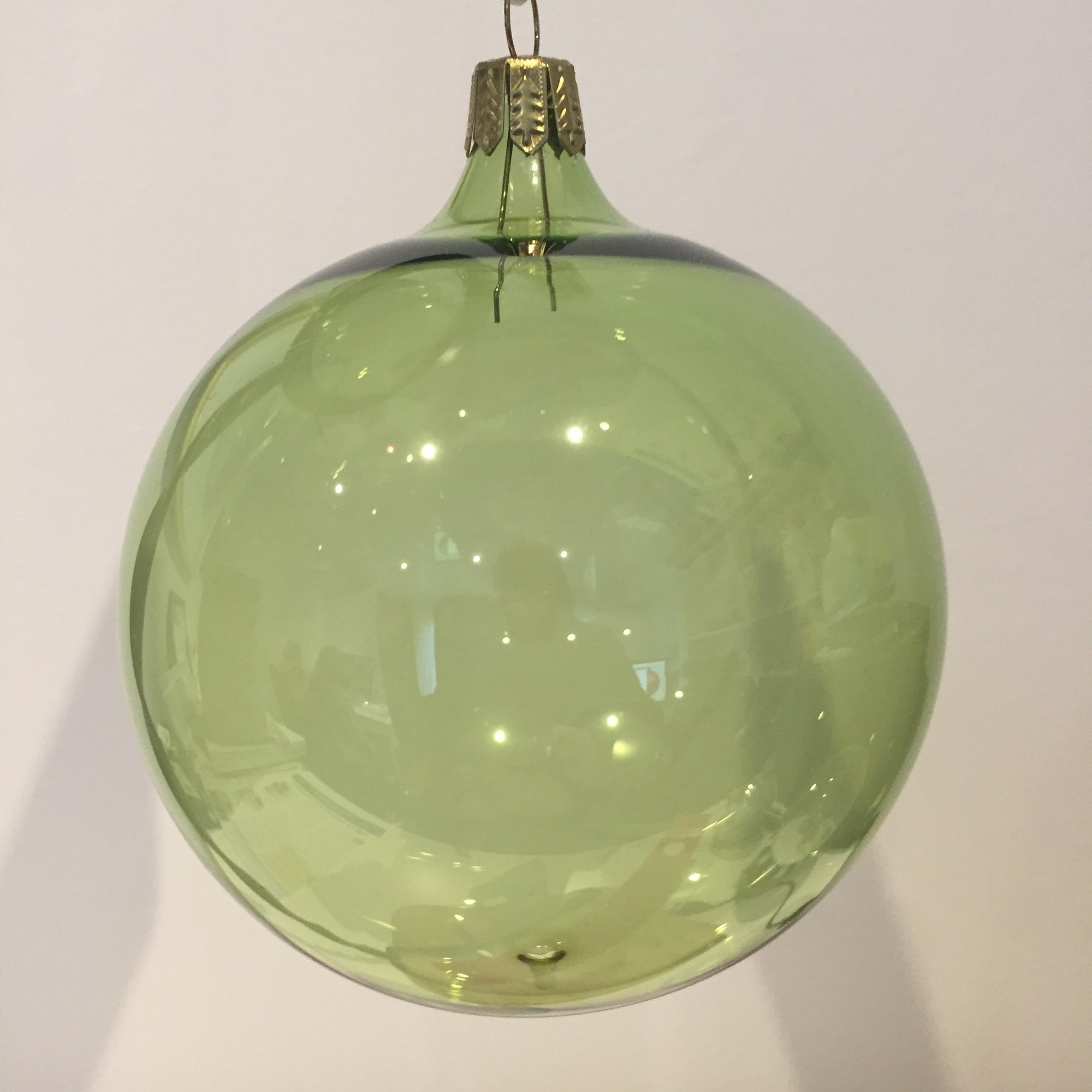 Soft Green Shiny Clear Bauble, 9cm. - My Christmas