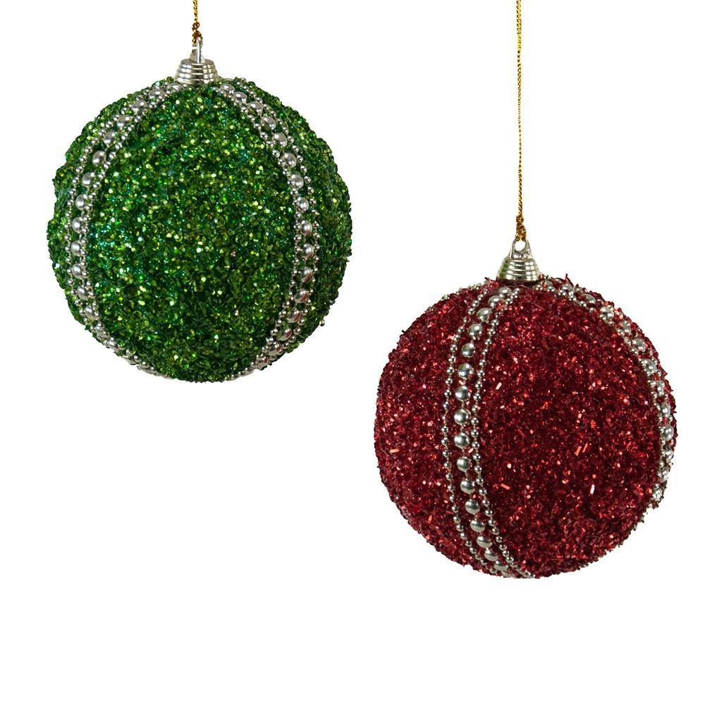 Studded Striped Sequin Ball Ornament - My Christmas