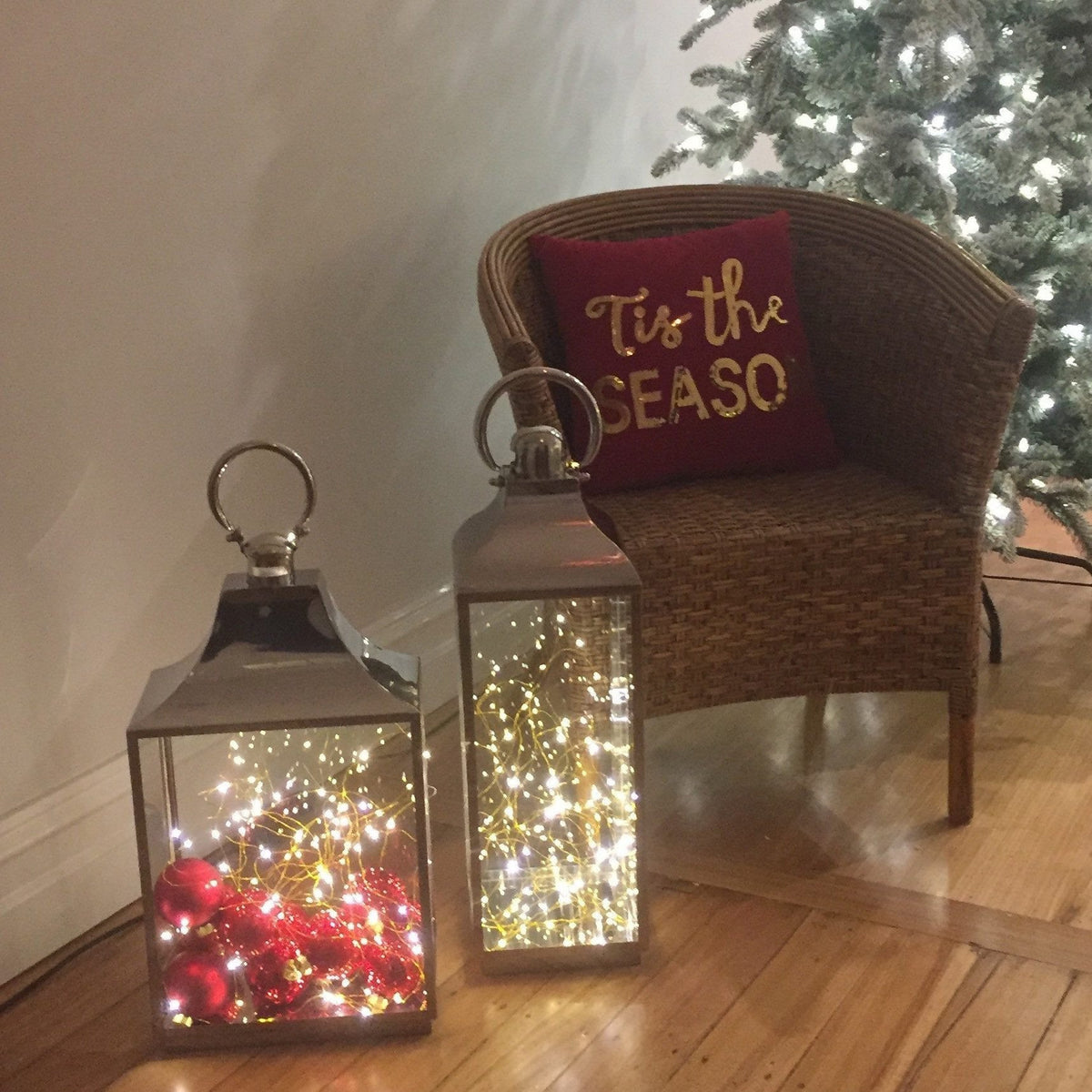 Tall Silver/Glass Lantern - Pick Up Only. - My Christmas