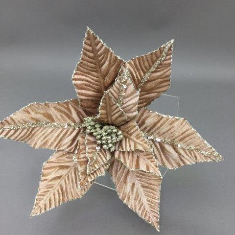 Taupe and Champagne Poinsettia Pick - My Christmas