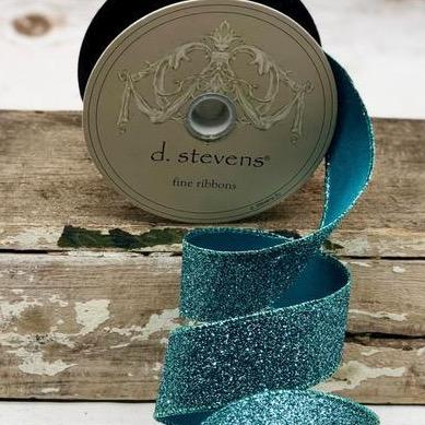 Teal Vintage Glitter Ribbon - My Christmas