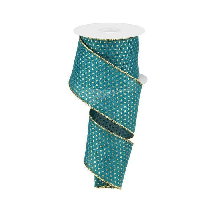 Teal With Gold Spot Ribbon - My Christmas