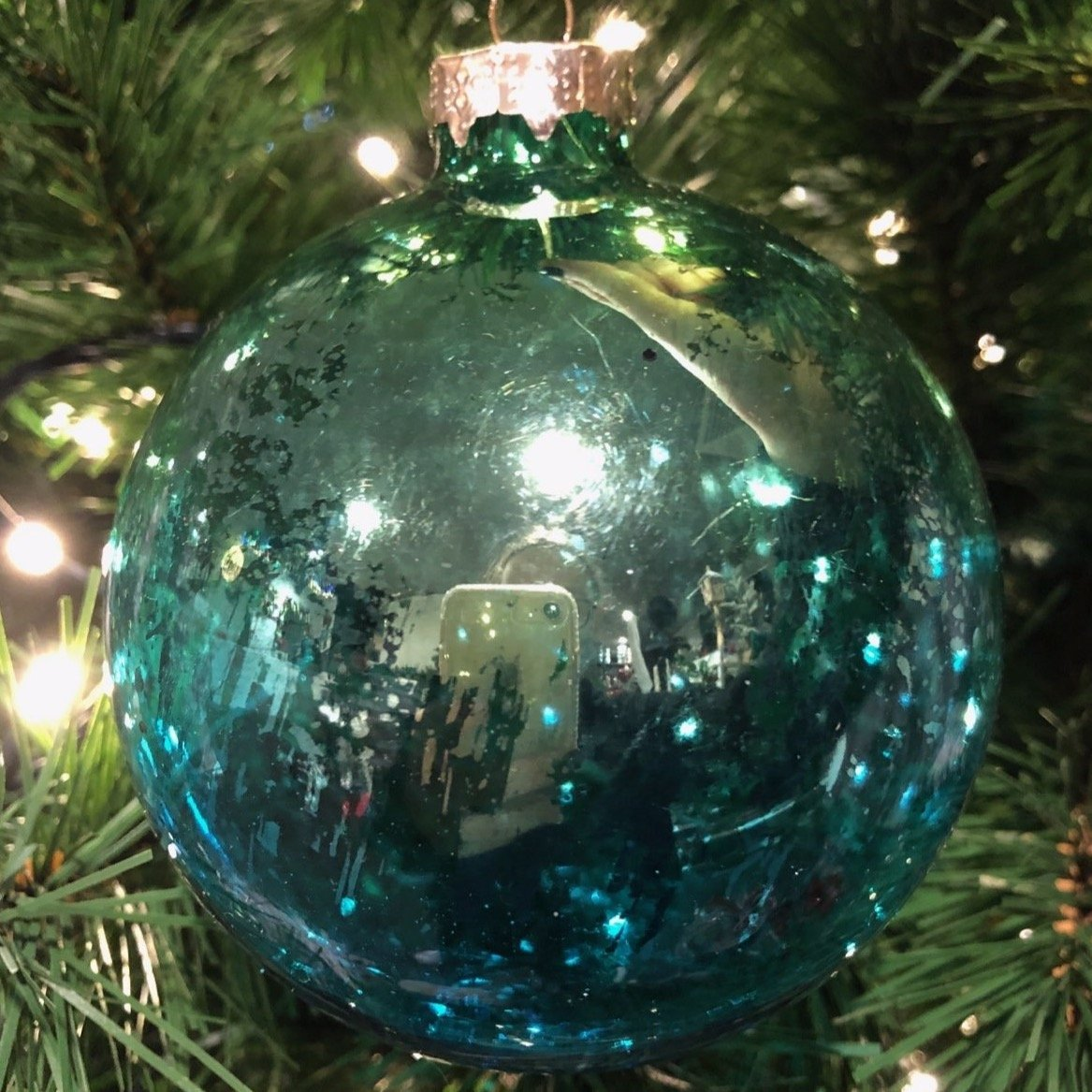 Turquoise Antique Glass Ornament, 10cm - My Christmas